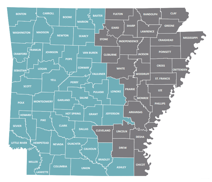 Map of Arkansas with QualChoice MediQ65 coverage